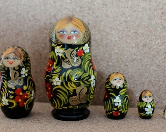 Babushka  nesting dolls  with berries babushka dolls set of 5 sale
