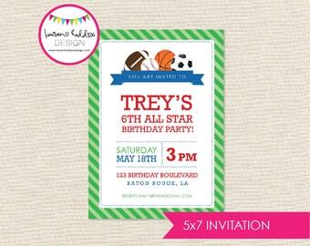 All Star Sports Birthday, All Star Sports Birthday Invitation, All Star Sports Printables, Sports Decorations, Lauren Haddox Designs