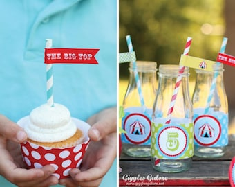 DIY Circus straw flags -----INSTANT DOWNLOAD----- no personalization