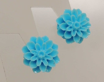 Light Blue Flower Post Earrings
