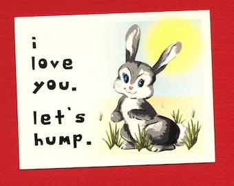 I LOVE U LET'S HUMP - Funny Love Card - Love Card For Him - I Love You Card - Love Card - Card for Boyfriend - Funny Valentine - Item# L013