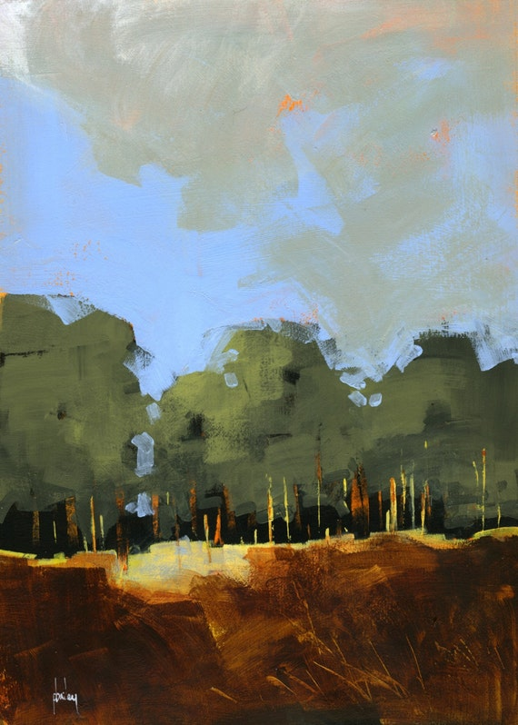 Semi Abstract Landscape Original Painting Plantation