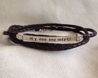 Men's Custom Triple Band Silver Braided Leather Bracelet with Sterling Silver Wire.Lobster Closure.Secret Message.Rustic. Reclaimed Silver.