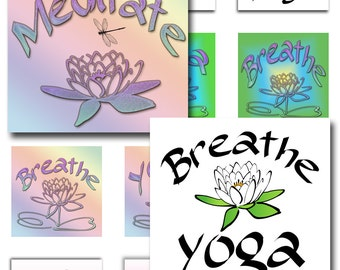 Yoga Meditate Lotus Flower Butterfly Instant Download 1 and 2 Inch Resin Glass Scrabble Tile Pendants  Square JPEG (13-33)