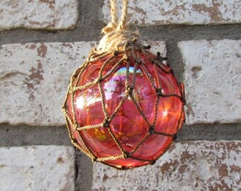 Red Glass Fishing Float Christmas Ornament