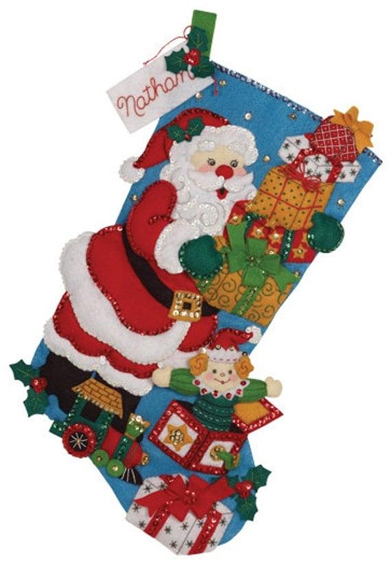 Finished Handcrafted Bucilla Felt Christmas Stocking Gifts