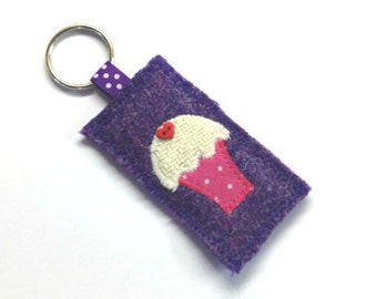 SALE - purple Harris Tweed keyring with embroidered cupcake, keychain, keyfob, little present