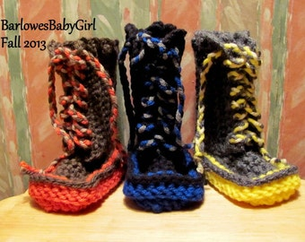 Buggs -  Crochet Lace Up Baby Booties with Ultra Bright Color Sole - Pick Your Color or Customize Your Color