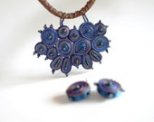 Special offer gifts set : textile pendant blue and earrings round - gifts for woman OOAK for order
