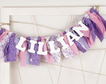 Purple, Pink and White Name Banner for Girl's Bedroom - Sophia the First - Birthday Party - Rag Banner - Garland - Photography Prop