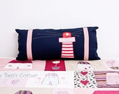 Nautical Lighthouse Decoration Pillow Cover, Navy Blue, Boy Gift, Red/White Stripes, Size 27.5'/ 70 cm x 12.6'/32 cm