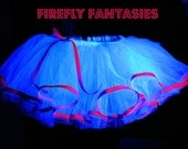 Raver Princess - White and Neon Pink Rave club Party TuTu Costume Glows in Black Light