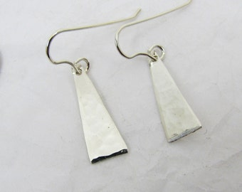 Fine Silver Tiny Triangle Earrings, Hammered Earrings, Pure Silver Triangle Earrings