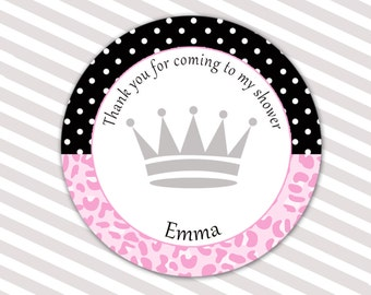 Princess Thank You Tags - Pink Leopard Polka Dots Baby Shower Tags Custom Party Items Printable Custom Party Tags Party Favors Princess Tags
