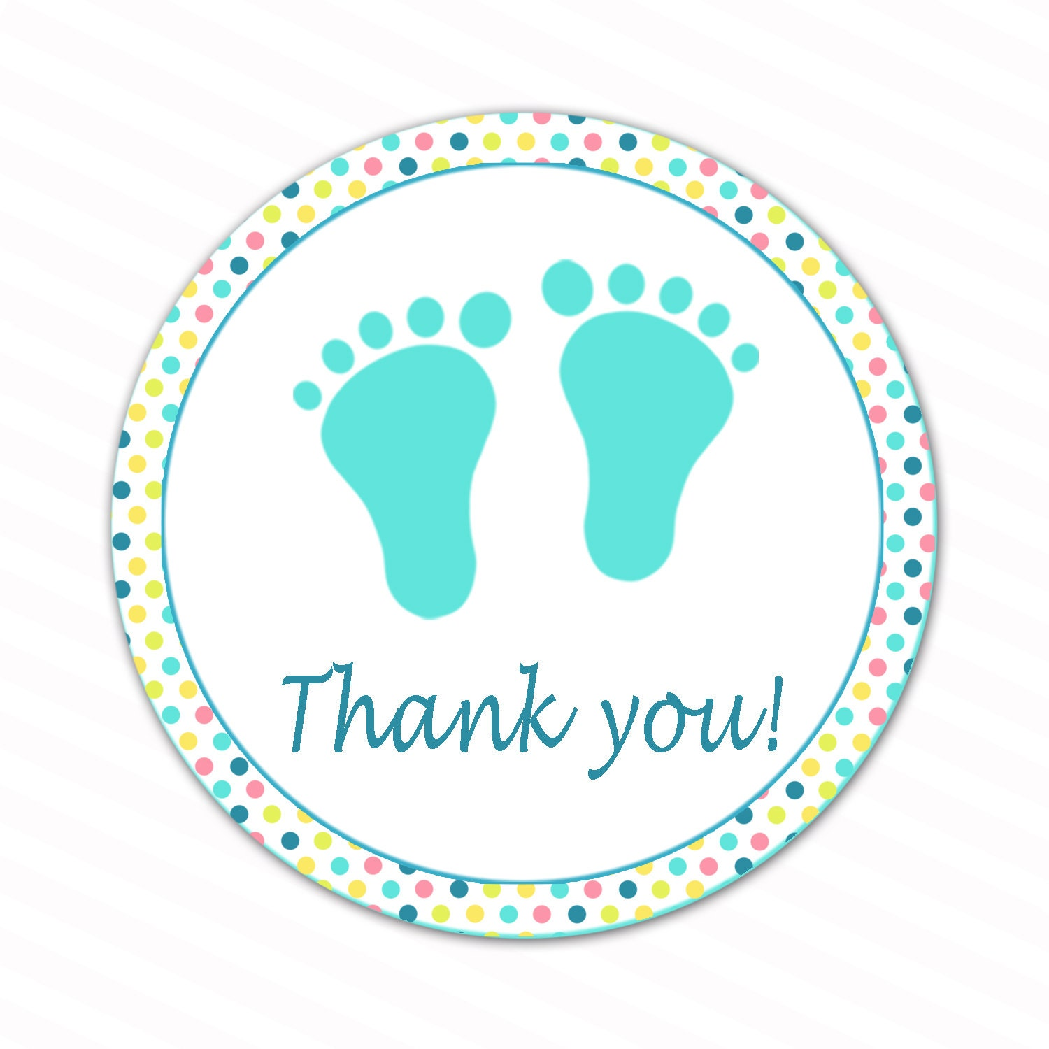 INSTANT DOWNLOAD Pastel Polka Dots Baby Feet Thank You Tags