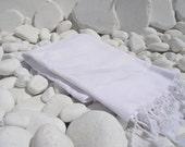 Set of 4-New-Soft-Turkishtowel-High Quality,Hand Woven,Bath,Beach,Spa,Yoga,Travel Towel or Sarong-White stripes on White