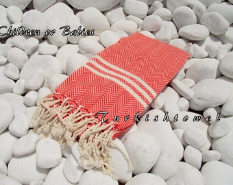 Turkishtowel-NEW-For BABIES or KIDS Turkish Bath Towel or Sarong-Herrigbone shape-Orange and Natural Cream,Ivory,Undyed