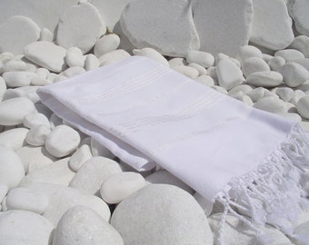 Set of 4-New-Soft-Turkishtowel-High Quality,Hand Woven,Bath,Beach,Spa,Yoga,Travel Towel or Sarong-White stripes on White
