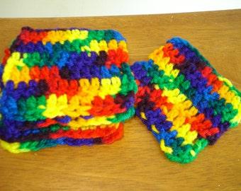 Set of six colorful crochet coasters