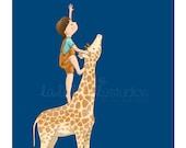 Children's Wall Art Print - Kids Decor - Wall Art Illustration - Boy's and Girl's nursery - boy and giraffe, night, sky - The star