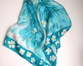 Aqua and White Vera Silk Scarf