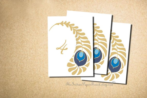 Items similar to printable royal peacock table numbers diy for Table sign design
