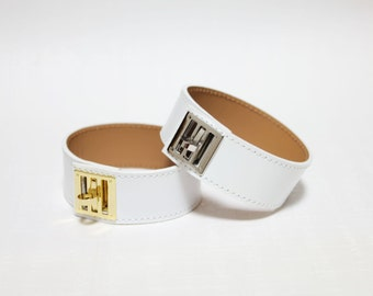 New Equestrian Buckle Ornament Leather Bracelet(WHITE)