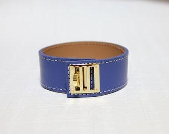 New Equestrian Buckle Ornament Leather Bracelet(BLUE)