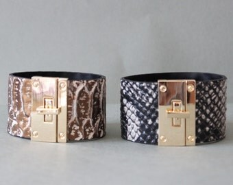 Python Pattern Cowhide Leather Bracelet(Bronze or Grey Multi)