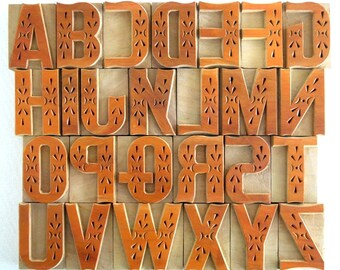 "50% OFF -A to Z - 26 Beautiful Designer Letterpress Wood Type, 2"" High, B118 - DIY"