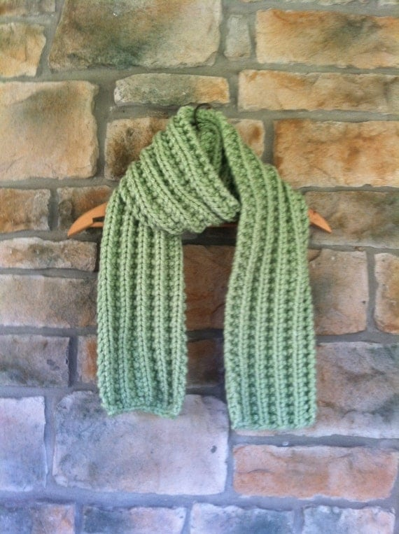 Hand-knit Winter Chunky Scarf Light Green