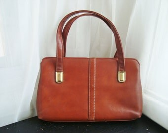 Brown Faux Leather Handbag By JR Handbags, Julius Resnick