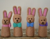 Bunny Needle Felted Pink Green Blue Pink