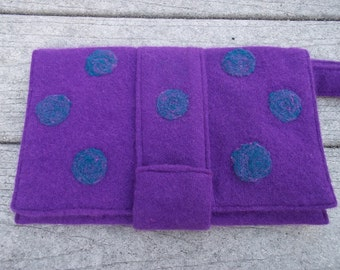 Purple Purse with Needle Felted Speckled Blue Polka Dots Eco Friendly