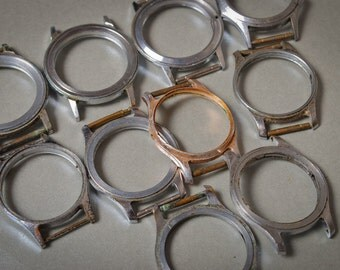 Set of 10 Vintage watch cases, silver and gold finished