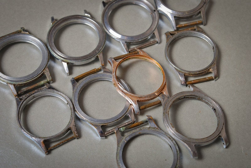 Set of 10 Vintage watch cases, silver and gold finished steampunk buy now online