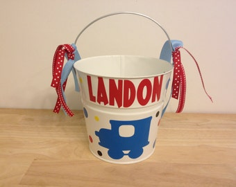 Halloween bucket: Train design Personalized halloween trick or treat metal bucket, 2 quart toddler size pail, match your costume, candy bag