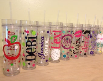 Quantity 11 Personalized w/name acrylic tumbler w/lid - polka dots, Available in skinny, standard, sport bottle, mason, kiddie cup & XL cup