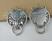 5 pcs Antique Silver Wolf Charms, 40X26mm Round Plate Final Fantasy Pendant Jewelry Finding for Necklace, Bracelet featured image