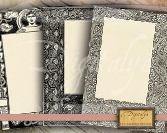 FLORAL ART NOUVEAU Framed cards (3) - Five Digital Collage Sheets - Buy 3 Get 1 Extra Free - Instant download