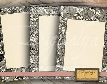 FLORAL ART NOUVEAU Framed cards (4) - Five Digital Collage Sheets - Buy 3 Get 1 Extra Free - Instant download