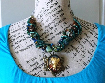 Statement Necklace Blue/Green Chunky Necklace with funky focal for Women, Boho, Matching Bracelet