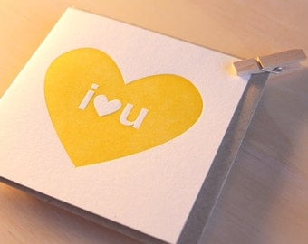 Big I heart U, Mother's Day, Father's Day Letterpress Card in sunny yellow simple and bright, cheerful love card, Made in Australia