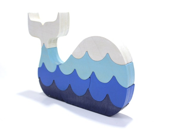 Whale Puzzle with Waves and Room Decor in Blue