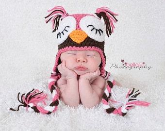 Crochet Baby Owl Hat-Photo Prop-Choose Colors-crochet earflap hat-accesories