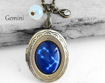 """Get 15% OFF - Handmade Resin """"Gemini"""" Constellation Sign Antique Bronze Oval Photo Locket Pendant Necklace - Mother's Day SALE 2017"""