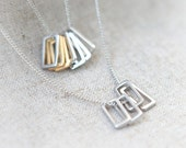 Open rectangles layered Long Necklace