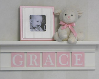 Baby Name Shelf Pink Pastel Personalized Children Nursery Decor White or Off White Shelves with Letter Wooden Tiles Painted Light Pink
