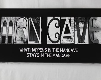 Alphabet Photography Letter Art MANCAVE Black 10x20 Framed