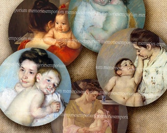 Mothers Day Children Love One 1 Inch Circles Inchies Kids Babies Cuddles Mum Mom for Jewelry Pendant Locket Bezels Digital Collage Sheet 463